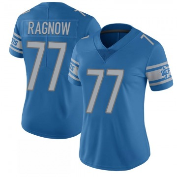 Women's Detroit Lions Frank Ragnow Blue Limited 100th Vapor Jersey By Nike
