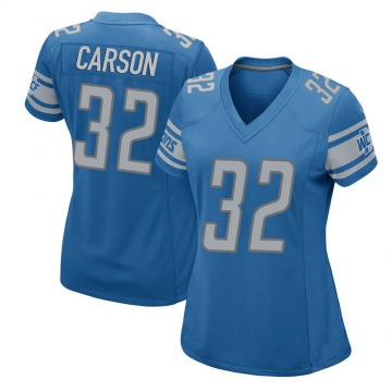 Women's Detroit Lions Tra Carson Blue Game Team Color Jersey By Nike